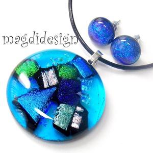 Csodás kék dichroic csillogás üvegékszer szett medál, pötty fülbevaló (magdidesign) - Meska.hu