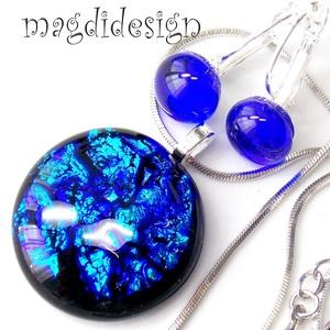 Hullámzó kék tenger üvegékszer szett, nyaklánc, kapcsos fülbevaló (magdidesign) - Meska.hu
