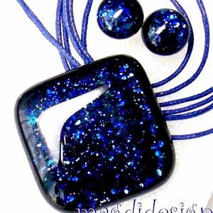 Kék aventurin csillogás üvegékszer szett, nyaklánc, pötty fülbevaló, Ékszer, Fülbevaló, Medál, Ékszerkészítés, Üvegművészet, Óriási választék boltomban aventurin üvegékszer szettekből!!! Csillogó, kék aventurin üveg felhaszná..., Meska