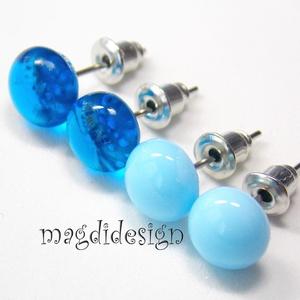 Víz kék, encián kék üvegékszer fülbevaló, Ékszer, Fülbevaló, Táska, Divat & Szépség, Ruha, divat, Ékszerkészítés, Üvegművészet, Víz kék és áttetsző enciánkék kék muránói ékszerüveg felhasználásával készült a két pár fülbevaló, f..., Meska