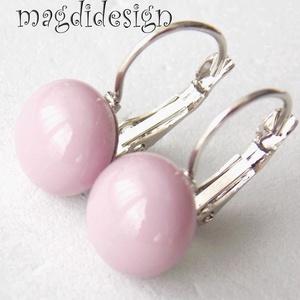 Púderes lilás rózsaszín üvegékszer kapcsos fülbevaló, Ékszer, Fülbevaló, Gyerek & játék, Ékszerkészítés, Üvegművészet, Halvány, pasztell lilás rózsaszín ékszerüveg felhasználásával készült a kapcsos fülbevaló, olvasztás..., Meska