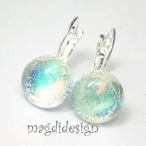 Csillámporos szivárványos, üvegékszer kapcsos fülbevaló (magdidesign) - Meska.hu