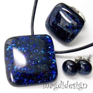 Kék aventurin csillogás üvegékszer szett, nyaklánc, gyűrű, pötty fülbevaló (magdidesign) - Meska.hu
