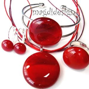 Meggypiros üvegékszer szett, nyaklánc, karkötő, gyűrű, kapcsos fülbevaló (magdidesign) - Meska.hu