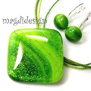 Hullámzó, csillámos zöld tenger üvegékszer szett, nyaklánc, kapcsos fülbevaló (magdidesign) - Meska.hu