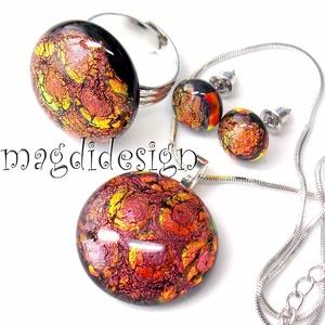 Vörös-bíbor-arany buborékok üvegékszer szett, nyaklánc, gyűrű, stiftes fülbevaló (magdidesign) - Meska.hu