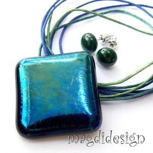 Éteri eozin kék-zöld fényben üvegékszer szett, nyaklánc, fülbevaló (magdidesign) - Meska.hu