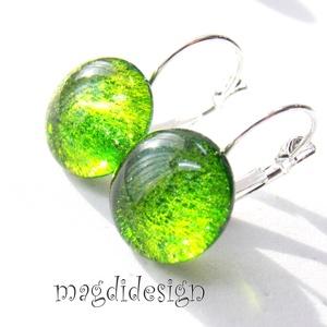 Zöld csillámporos üvegékszer kapcsos fülbevaló  (magdidesign) - Meska.hu