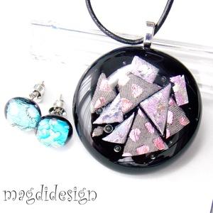 Ezüst-rózsaszín csillogás üvegékszer szett, nyaklánc, stiftes fülbevaló (magdidesign) - Meska.hu