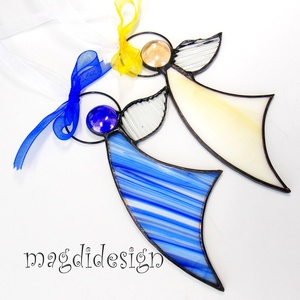 Karácsonyi tiffany angyalkák 2 db, kék, beige (magdidesign) - Meska.hu