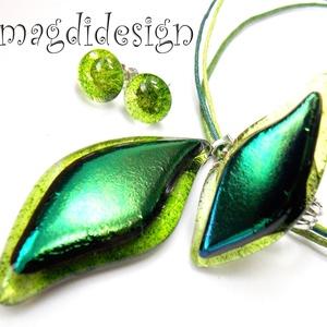 Smaragdzöld levél üvegékszer szett, nyaklánc, gyűrű, fülbevaló (magdidesign) - Meska.hu