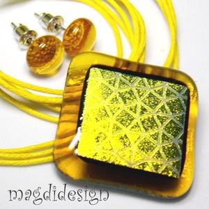 Arany-méz dichroic üvegékszer szett, nyaklánc, pötty fülbevaló (magdidesign) - Meska.hu