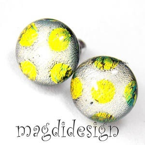 Arany-púder dichroic üvegékszer stiftes fülbevaló (magdidesign) - Meska.hu