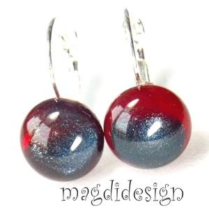 Piros-kék üvegékszer kapcsos fülbevaló (magdidesign) - Meska.hu