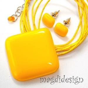 Nap sárga kocka üvegékszer szett, nyaklánc, fülbevaló (magdidesign) - Meska.hu