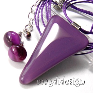 Egyszerűen lila üvegékszer szett, nyaklánc, stiftes fülbevaló (magdidesign) - Meska.hu