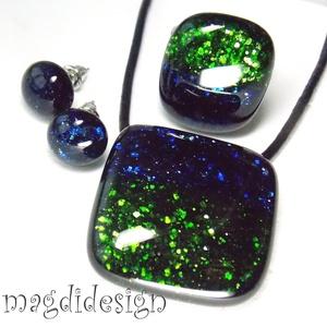 Kék, zöld csillogó aventurin üvegékszer szett, nyaklánc, gyűrű, pötty fülbevaló (magdidesign) - Meska.hu