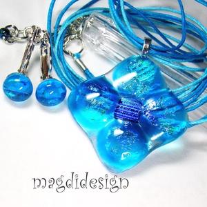 Szikrázó kék virág üvegékszer szett, nyaklánc, kapcsos fülbevaló  (magdidesign) - Meska.hu