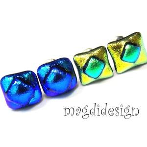 Kék arany-zöld Fúzió 2 pár üvegékszer kocka fülbevaló  (magdidesign) - Meska.hu