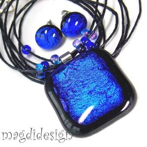 Fekete-kék selyemcukor üvegékszer szett, nyaklánc, stiftes fülbevaló (magdidesign) - Meska.hu