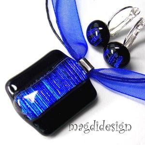 Fekete-kék csíkos üvegékszer szett, nyaklánc, kapcsos fülbevaló (magdidesign) - Meska.hu