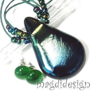 Éteri eozin kék-zöld fényben üvegékszer szett, nyaklánc, stiftes fülbevaló (magdidesign) - Meska.hu