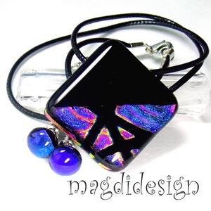 Fekete-kék-magenta Fúzió üvegékszer szett, nyaklánc, stiftes fülbevaló (magdidesign) - Meska.hu