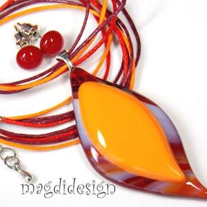 Narancsos-meggy levél üvegékszer szett, nyaklánc, pötty fülbevaló (magdidesign) - Meska.hu