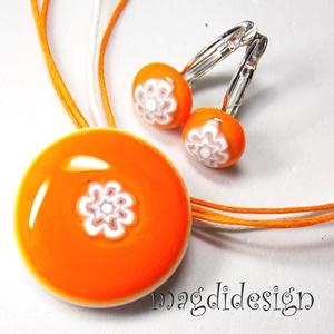 Narancs-fehér csipkés, virágos üvegékszer szett, nyaklánc, kapcsos fülbevaló (magdidesign) - Meska.hu
