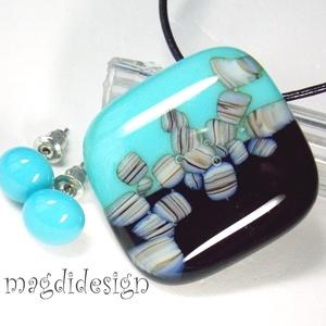 Egyedi, másolhatatlan kék-fekete szett, nyaklánc, pötty fülbevaló (magdidesign) - Meska.hu