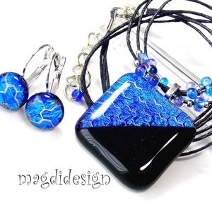 Velencei karnevál kékfényben üvegékszer szett, nyaklánc, kapcsos fülbevaló (magdidesign) - Meska.hu