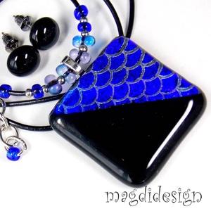 Velencei karnevál kék fényben üvegékszer szett, nyaklánc, stiftes fülbevaló (magdidesign) - Meska.hu