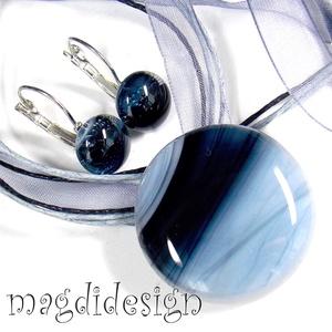 Trendi szürke üvegékszer szett, nyaklánc, kapcsos fülbevaló (magdidesign) - Meska.hu