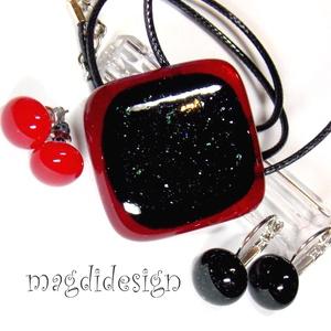 Rubin fekete szikrázás üvegékszer szett nyaklánc, kapcsos, stiftes fülbevaló (magdidesign) - Meska.hu