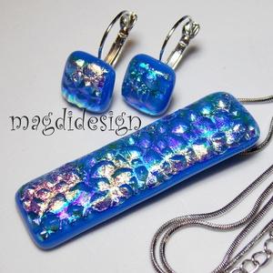 Szivárványos kék dichroic üvegékszer szett, nyaklánc, gyűrű, kapcsos fülbevaló (magdidesign) - Meska.hu
