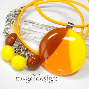 Narancs-sárga-karamell SZÍNTRIÓ üvegékszer szett, nyaklánc, 2 pár stiftes fülbevaló (magdidesign) - Meska.hu