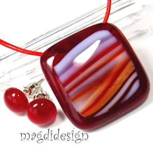 Meggy-piros-fehér üvegékszer szett, nyaklánc, pötty fülbevaló (magdidesign) - Meska.hu