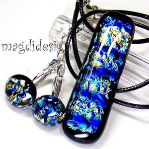 Szikrázó kékség üvegékszer szett, nyaklánc, kapcsos fülbevaló (magdidesign) - Meska.hu
