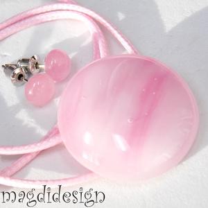 Pasztell rózsaszín üvegékszer szett nyaklánc, pötty fülbevaló (magdidesign) - Meska.hu