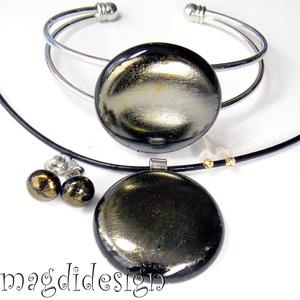 Ezüstös óarany eozin üvegékszer szett, nyaklánc, karkötő, pötty fülbevaló  (magdidesign) - Meska.hu