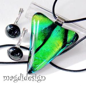 Zöld-arany-kék színváltós üvegékszer szett, nyaklánc, kapcsos fülbevaló (magdidesign) - Meska.hu