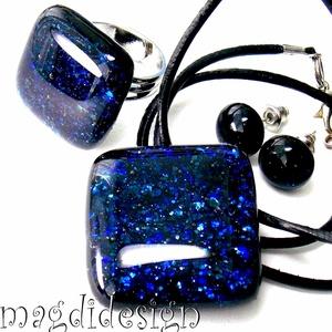 Kék aventurin csillogás üvegékszer szett, nyaklánc, gyűrű, pötty fülbevaló, Ékszer, Fülbevaló, Medál, Gyűrű, Ékszerkészítés, Üvegművészet, Óriási választék boltomban aventurin üvegékszer szettekből!!! Csillogó, kék aventurin üveg felhaszná..., Meska