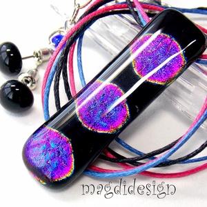 Aranyló pink pöttyök üvegékszerszett, nyaklánc, stiftes fülbevaló, Ékszer, Medál, Fülbevaló, Ékszerkészítés, Üvegművészet, Óriási választék dichroic ékszerekből boltomban!!!  Kék, lila, pink, fekete mintás dichroic üveg fel..., Meska