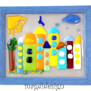 Meseváros üveg falikép gyerekszobába , Dekoráció, Otthon & lakás, Gyerek & játék, Gyerekszoba, Baba falikép, Üvegművészet, Mindenmás, Meseváros, gyerekszobák fali dísze. Színes fusing üveg felhasználásával készült a falikép, olvasztás..., Meska