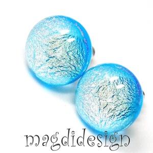 Kék csillogás üvegékszer pötty fülbevaló, Pötty fülbevaló, Fülbevaló, Ékszer, Ékszerkészítés, Üvegművészet, Óriási színválaszték kapcsos és stiftes fülbevalókból boltomban!!!   Áttetsző, kék és csillogó arany..., Meska