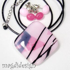 Rózsaszín fekete csíkos üvegékszer szett, nyaklánc, 2 pár pötty fülbevaló, Ékszer, Fülbevaló, Ékszerszett, Medál, Ékszerkészítés, Üvegművészet, Rózsaszín mintás minőségi, ékszerüvegből készült a medál, és a 2 pár stiftes fülbevaló, olvasztásos ..., Meska