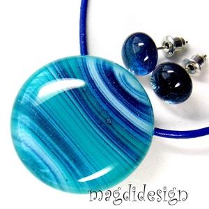 Türkiz csillogó kékkel üvegékszer szett, nyaklánc, pötty fülbevaló , Ékszer, Medál, Fülbevaló, Táska, Divat & Szépség, Ékszerkészítés, Üvegművészet, Óriási színválaszték csillámporos szettekből boltomban. Mélykék türkiz-kék-zöld, csillogó mintás éks..., Meska