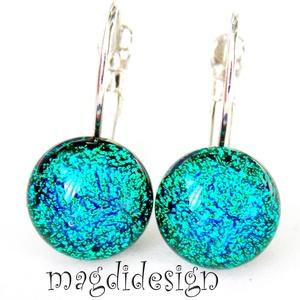 Smaragdzöld-kék csillogás dichroic üvegékszer kapcsos fülbevaló , Ékszer, Fülbevaló, Ékszerkészítés, Üvegművészet, Óriási választék kapcsos és stiftes fülbevalókból boltomban. Smaragdzöld színjátszó dichroic üveg fe..., Meska
