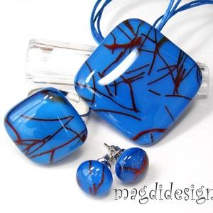 AKCIÓ!! Kék-marsala krix-krax üvegékszer szett, nyaklánc, gyűrű, fülbevaló , Ékszer, Ékszerszett, Ékszerkészítés, Üvegművészet, Meska
