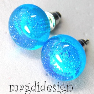 Sejtelmes kék csillogás üvegékszer pötty fülbevaló, Pötty fülbevaló, Fülbevaló, Ékszer, Ékszerkészítés, Üvegművészet, Óriási színválaszték kapcsos és stiftes fülbevalókból boltomban!!!   Áttetsző, türkizkék és kék dich..., Meska